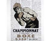 International Boxing Championship bw Print on a Vintage Dictionary Page