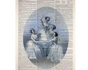 Ballet Print on Vintage Book Page