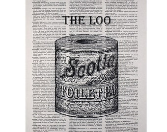 The Loo Print on a Vintage Book Page