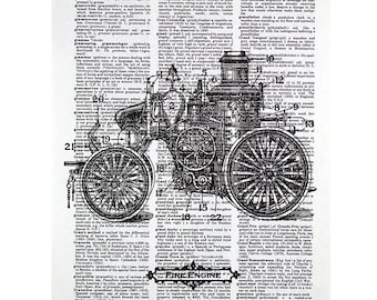 Antique Fire Truck Print on a Vintage Dictionary Page