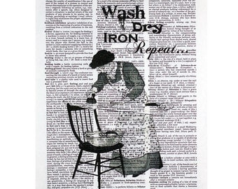 Wash Dry Iron Repeat Laundry Print on a Vintage Dictionary Page