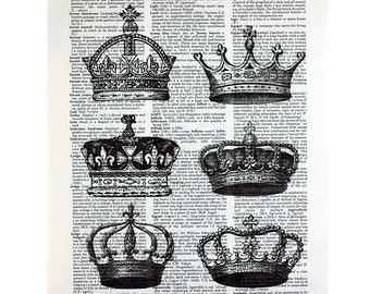 Vintage Crowns Printed on an Antique Book Page