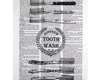 Brush Your Teeth Print on a Vintage Dictionary Page