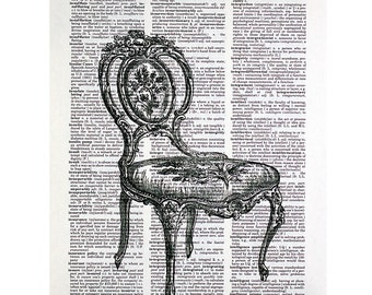 Classic French Chair Print on an Antique Dictionary Page