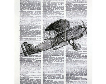 Biplane Print on a Vintage Dictionary Page