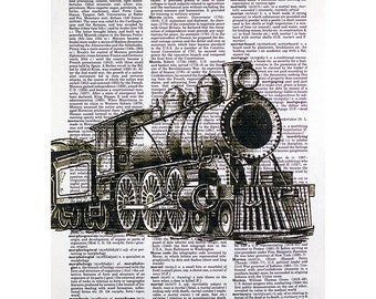 Steam Engine Train Print on a Vintage Dictionary Page