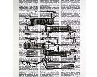 Stack of Books Printed on a Vintage Dictionary Page