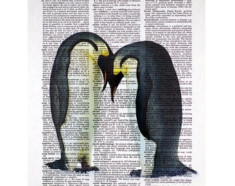 Penguin Couple Print on a Vintage Dictionary Page