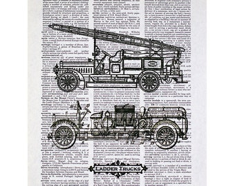 Ladder Fire Trucks Print on a Vintage Dictionary Page