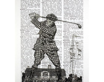 Plaid Golfer bw Print on a Vintage Dictionary Page