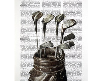 Vintage Golf Clubs bw Print on an Antique Dictionary Page