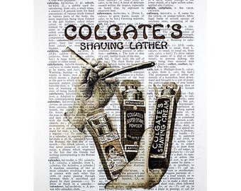 Colgate Shaving Lather Print on a Vintage Dictionary Page