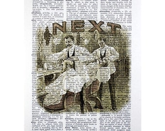Barber Shop Print on a Vintage Dictionary Page