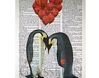 Penguin Love Print on a Vintage Dictionary Page