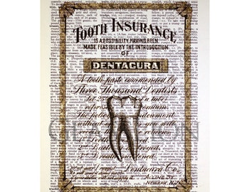 Tooth Insurance Print on a Vintage Dictionary Page