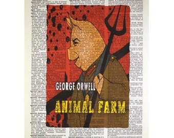George Orwell's Animal Farm on a Vintage Dictionary Page