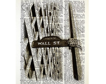 Wall Street Sign Print on a Vintage Dictionary Page