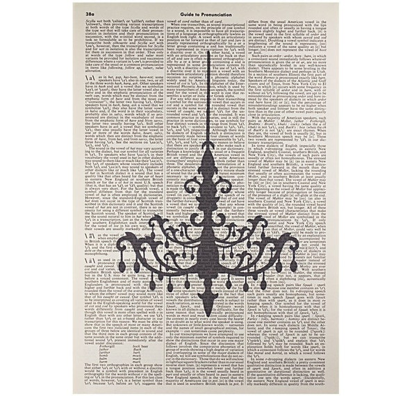 Chandelier Print on a Vintage Dictionary Page