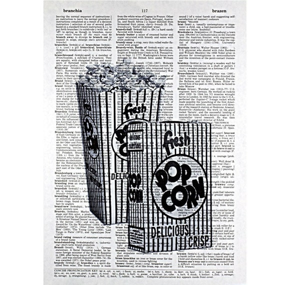Vintage Popcorn Boxes Printed on an Antique Book Page