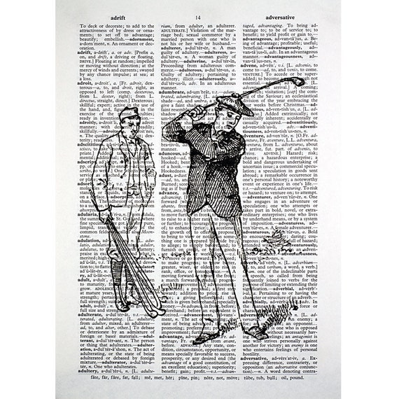 Vintage Golfers Print on an Antique Dictionary Page