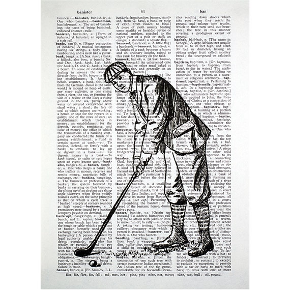 Vintage Golf Putter Print on an Antique Dictionary Page