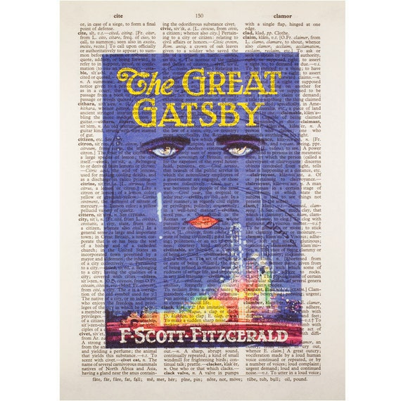 The Great Gatsby Book Cover on a Vintage Dictionary Page