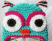 Newborn to Toddler - Crochet owl hat with earflaps- Choose your colors-Made to Order