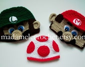 Newborn to Adult Plumber Crochet Hat-Made to Order