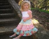 Tasha Girl's Cap Sleeve 3 Tiered Ruffle Dress with Pin Tucks and Lace, Custom Sizes 12M through 5T
