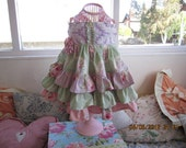 Vintage Chenille Girls Ruffle Party Dress. Custom Sizes 6 months through 5T