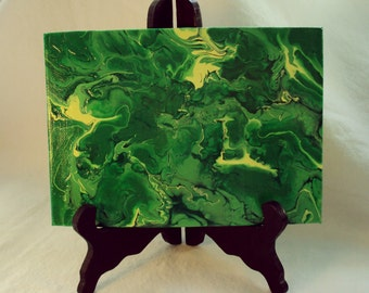 Mini Abstract  Painting on easel, Green forest