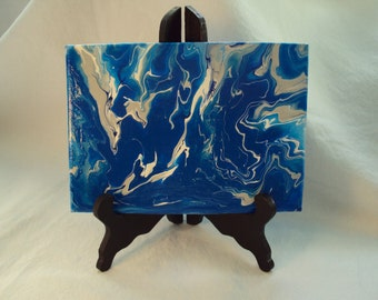 Mini Abstract Painting on Easel  /  Blue, White and Gray
