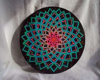 Mandala Painting, Energy Circle, Black with Greens, Blues and Pinks