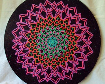 Mandala, Painting, Energy Circle Painting  Festive Colors on Black