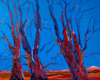 Red Trees with Blue Sky / Expressionism / Oil Painting on Canvas