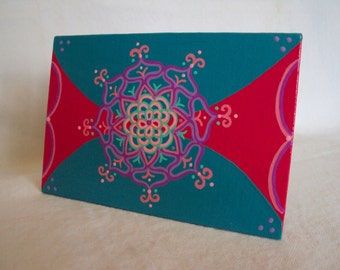 "Mandala Painting 4""x6"" on canvas board  Blue Red Purple"
