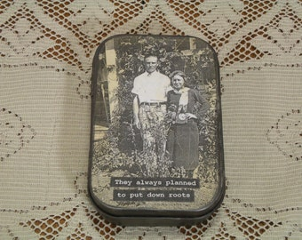 Altered Altoid Tin Vintage Photo Putting Down Roots