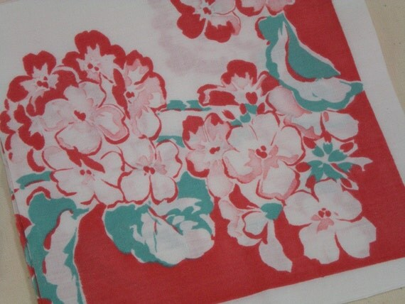 Cutter Tablecloth Turquoise and Atom Red Retro