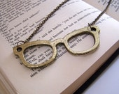 """Antique Bronze Eyeglass Necklace - Large Bronze Glasses Charm, Lead and Nickel Free, 28"""" Long Bronze Chain, 75mm x 22mm"""