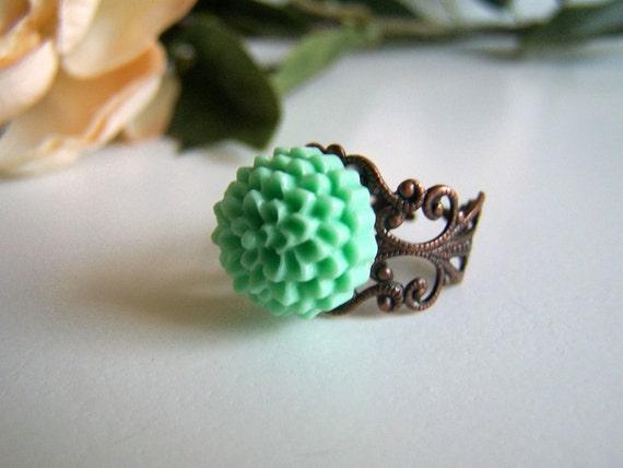 the mint pom chloe ring.