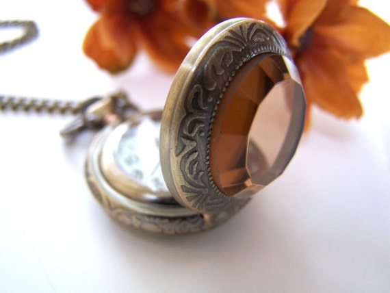 Tea Glass Pocket Watch Necklace