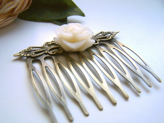 Cream Rose Hair Comb