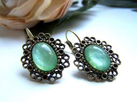 Green Gemstone Dangle Earrings