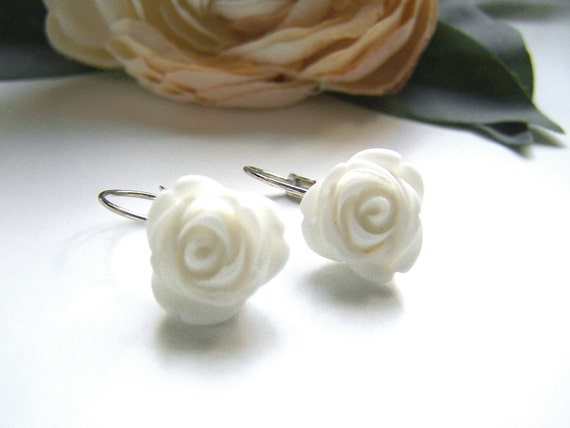 White Kinsey Dangle Earrings