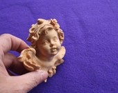 Beautiful Cherub Seraphim Angle Child with wings made of carved wood