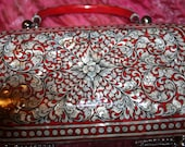 Inlaid Abalone and red enamel footed purse delicate gorgeous WOW