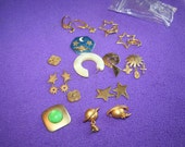 Space the final frontier metal space star vintage earring pieces for your art projects and fun crafts