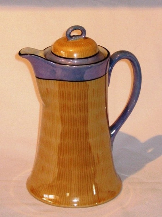 Lusterware Chocolate Pot Made In Japan Peach And Blue Teapot