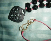 The Sophia- Dark Black Heart Metal Pendant Necklace with Glass Beads on Maroon Hemp