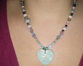 Stars in My Heart Necklace- Ceramic heart and Czech Glass Beads